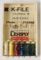 К-файл maillefer 25мм 008 6шт (эндодонтический инструмент для расширения корневых каналов зубов)