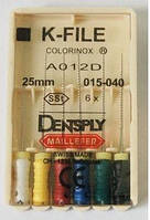 К-файл maillefer 25мм 20 6шт (эндодонтический инструмент для расширения корневых каналов зубов)