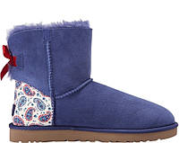 Натуральные зимние ботинки UGG Mini Bailey Bow Liberty Blue