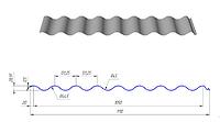 Волнистый профнастил ВП-30 оцинковка 0,5мм