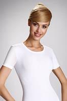 Женская бельевая футболка из хлопка белого цвета. Модель Natasza Eldar.