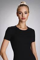 Женская бельевая футболка из хлопка черного цвета. Модель Natasza Eldar.