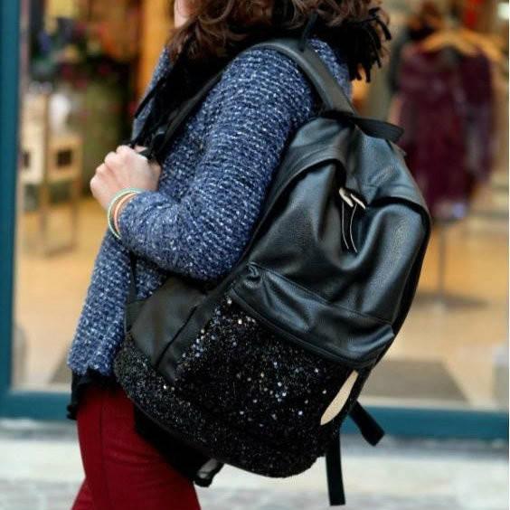 Городской рюкзак с паетками на кармане
