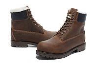 Ботинки Classic Timberland 6 inch Brown Winter Fur High Quality