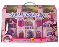 Игрушечный домик для кукол 16427С: музыка, свет, 3 куклы, наборы мебели, коробка 50х10,5х36 см
