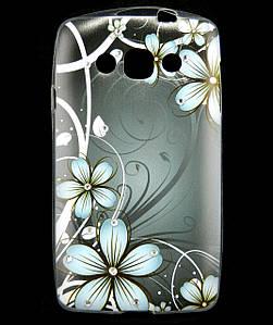 Чехол накладка для LG L60 Dual X135, X145 силиконовый Diamond, Dark Flowers