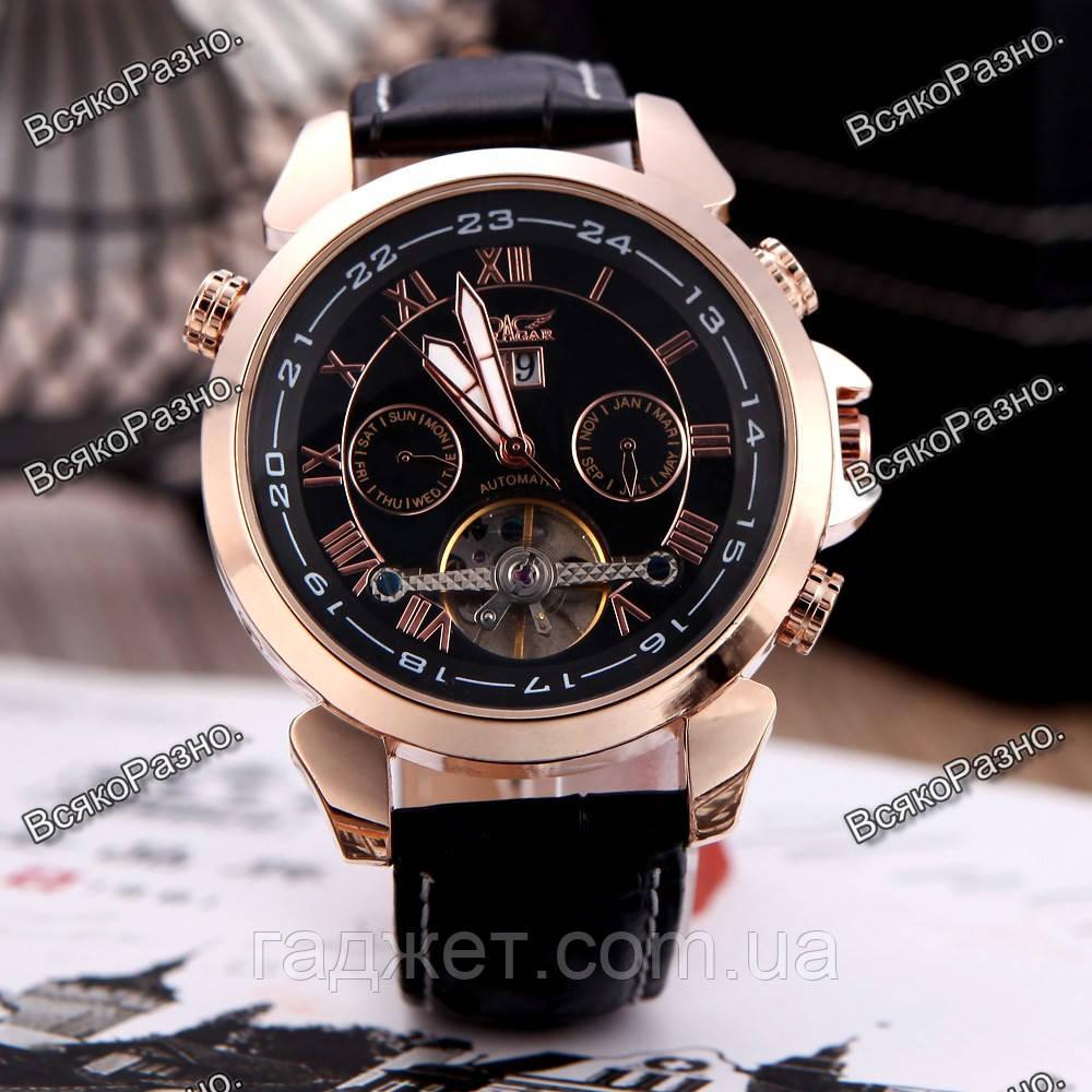 Мужские наручные часы скелетоны Jaragar Turboulion с автоподзаводом золотистые