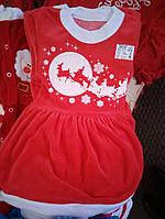 Новогоднее красное платье Санты для девочки с оленями