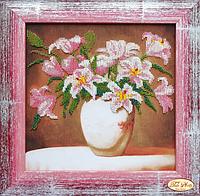 """Набор для вышивки бисером """"Tela Artis"""" Розовые лилии НГ-020"""