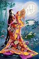 Схема для вышивки бисером POINT ART Гейша и луна, размер 19х29 см