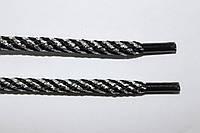 Шнурки круглые 5мм черный+серебро , фото 1