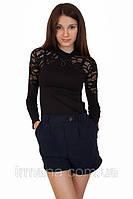 Гольф женский с гипюром черный №151, фото 1