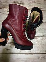 Классические зимние ботиночки женские на каблуке кожаные шнуровка, обувь женская зима