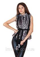 Жилет меховой к0012 014 серый леопард