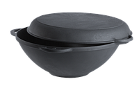 Казан-кастрюля чугунная, на 10 литров с чугунной крышкой-сковородой