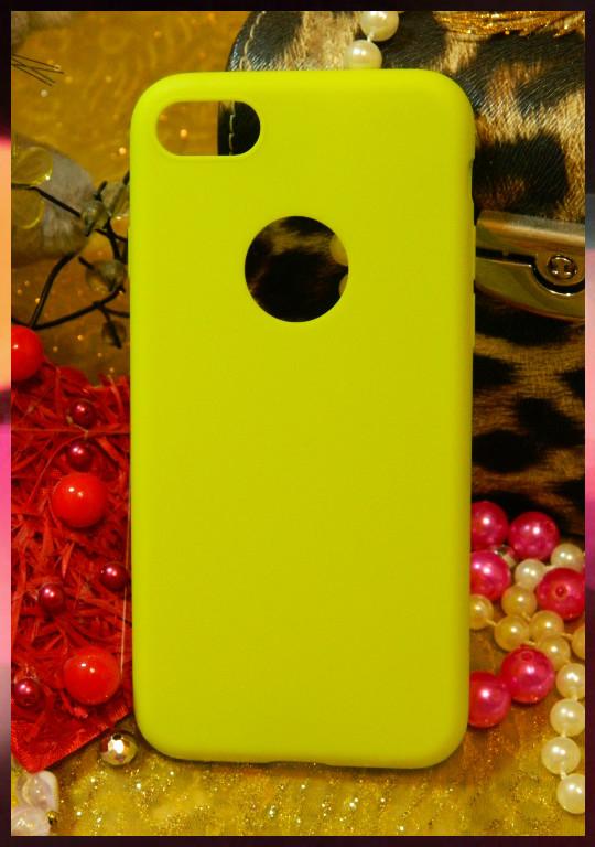 Силиконовый чехол с прорезью для логотипа Apple iPhone 7 салатового цвета