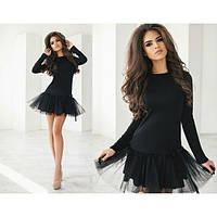 Молодежное женское платье фатин черного цвета