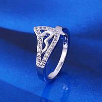 Кольцо 53379 размер 17, белые камни, позолота Белое Золото