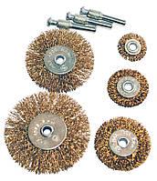 """Набор щеток зачистных дисковых 1/4"""" для дрели (рифленая проволока) 5 ед. MASTERTOOL"""