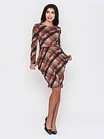 Cтильное модное трикотажное женское платье миди с длинными рукавами 90215