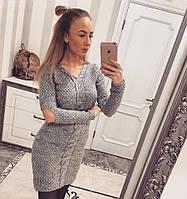 Тёплое женское вязаное платье 105