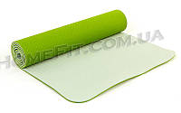 Коврик для фитнеса и йоги TPE+TC 2-х слойный (183cм/61см/6мм) нескользящий Зеленый-серый