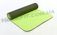 Коврик для фитнеса и йоги TPE+TC 2-х слойный (183cм/61см/6мм) нескользящий Т.Зеленый-салатовый