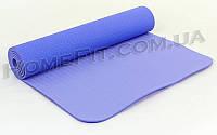 Коврик для фитнеса и йоги TPE+TC 2-х слойный (183cм/61см/6мм) нескользящий Сиреневый-св.сиреневый
