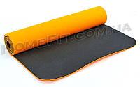 Коврик для фитнеса и йоги TPE+TC 2-х слойный (183cм/61см/6мм) нескользящий Оранжевый-черный