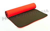 Коврик для фитнеса и йоги TPE+TC 2-х слойный (183cм/61см/6мм) нескользящий Красный-черный