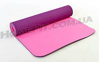 Коврик для фитнеса и йоги TPE+TC 2-х слойный (183cм/61см/6мм) нескользящий Фиолетовый-розовый
