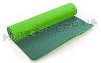 Коврик для фитнеса и йоги TPE+TC 2-х слойный (183cм/61см/6мм) нескользящий Салатовый-зеленый