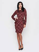Cтильное модное трикотажное платье миди с длинными рукавами 90215