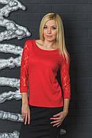 Кофта женская с гипюром красная, фото 1