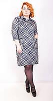 Платье большого размера Рубашка клетка (2 цвета), повседневные платья большого размера