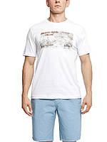 Мужская футболка LC Waikiki белого цвета с надписью Atlantic ocean cruise