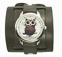 Наручные часы на эксклюзивном ремешке Сова из кофе