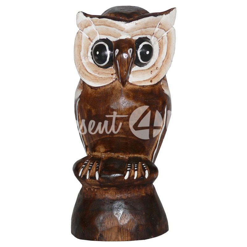 Деревянная статуэтка тотэм «Сова на пеньку», h-20 см.