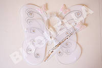 Карнавальные крылья Феи, белые с обручем, палоской