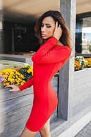 Женское приталенное платье до средины бедра с вырезом на спине