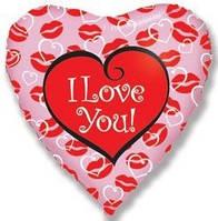 Фольгированное сердце с надписью I love you надутое гелием