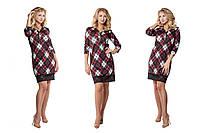 Модное коричневое  трикотажное  платье в клетку с кружевом. Арт-9533/78