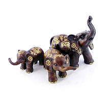 Семья слонов трех с золотом 25*11*65 Гранд Презент H2733-18T