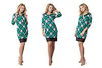 Модное зеленое  трикотажное  платье в клетку с кружевом. Арт-9533/78