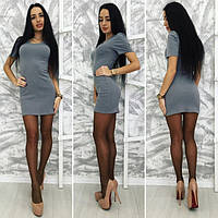 Женское серое платье с ангоры короткое приталенное