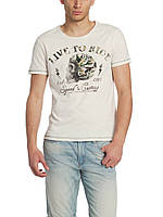 Мужская футболка LC Waikiki светло-серого цвета с надписью Live to ride, фото 1