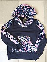 "Теплый детский батник на флисе ""Сердечки"" с капюшоном и карманом кенгуру (2 цвета)"