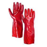 Перчатки маслостойкие  МБС (красные, х/б с полным ПВХ покрытием,   35 см)