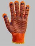 Перчатки вязанные с ПВХ точкой (белые , оранжевые, синие)