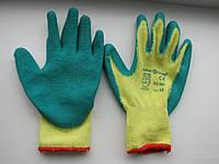 Перчатки пена х/б зеленые вспененный латекс